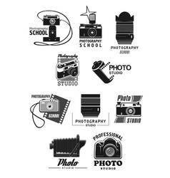 photography studio icon set with photo camera vector image