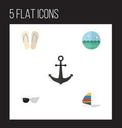 Flat icon summer set of beach sandals  ocean vector