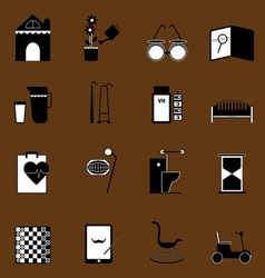Elderly related icons on brown background vector