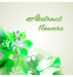 background with light green abstract flowers vector image