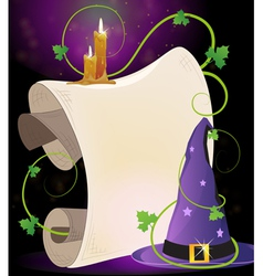 Witch hat and burning candles vector
