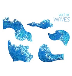 Wave elements isolated on white background vector