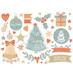 Sketchy christmas elements set vector