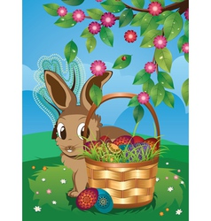 Easter bunny with eggs in the basket3 vector