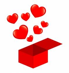 box of hearts vector image