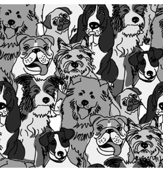 Group dogs seamless pattern gray scale vector image