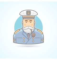 Sailor ship captain flag officer sea dog icon vector