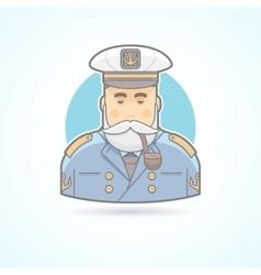 Sailor ship captain flag officer sea dog icon vector image
