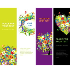 Summer floral banners vector