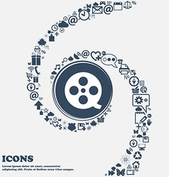 Film icon sign in the center around the many vector