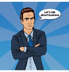 Serious businessman confident boss pop art vector