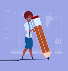 African american business woman holding big pencil vector