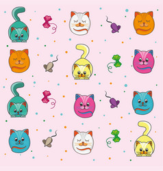 background of kittens on pink background vector image vector image