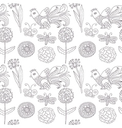 birds flowers seamless pattern vector image vector image