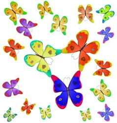 Butterflies of different colors vector image vector image