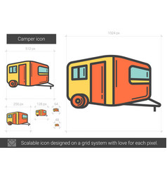Camper line icon vector