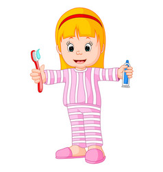 cartoon a young girl brushing her tooth vector image