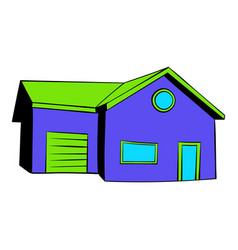 cottage with a garage icon icon cartoon vector image