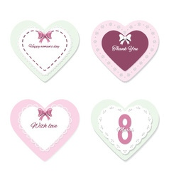 Cute lacy heart templates set vector image
