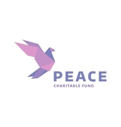 Dove of peace logo in the style origami vector