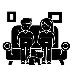 family at sofa working on laptops with cat icon vector image vector image