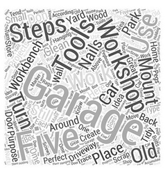 Five steps to a clean garage workshop word cloud vector