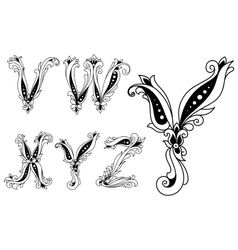 Floral black and white capital letters vector