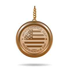 gold medallion for independence day 4th july vector image vector image