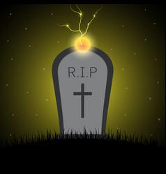 Halloween gravestone graveyard thunderbolt vector