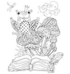 Hand drawn doodle outline mushrooms and frog vector image