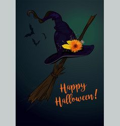 happy halloween text greeting card with witch vector image
