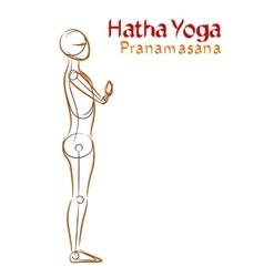 Hatha yoga pranamasana vector