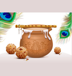 Holiday symbols krishna janmashtami pot of vector