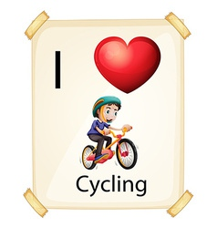 I love cycling vector image vector image