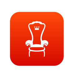 king throne chair icon digital red vector image