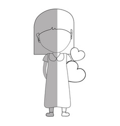 line pretty girl with hearts in the hand and dress vector image vector image
