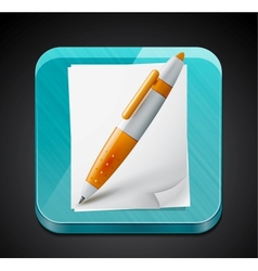 Mobile app icon - pen paper pages and glass vector image