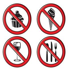 No eating no food allowed sign set vector