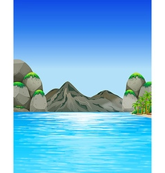 Ocean scene with mountains and trees vector