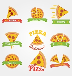 Pizza flat vintage label vector image vector image