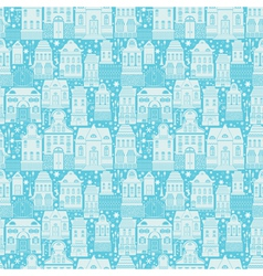 Seamless pattern with fairy tale houses lanterns t vector image