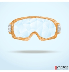 Ski goggles with reflection of mountains vector