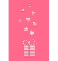 valentine card with present vector image vector image