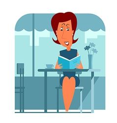 Woman in cafe reading book vector