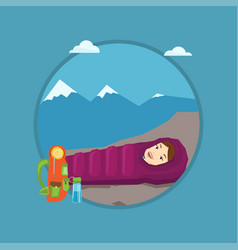 woman resting in sleeping bag in the mountains vector image