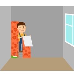 Man makes repairs in room vector image