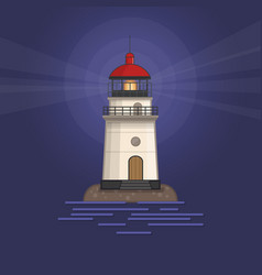 Background with white lighthouse at night vector