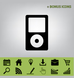 Portable music device  black icon at gray vector