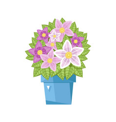 Spring flower in ceramic pot isolated icon vector