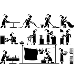 Icons man work home vector
